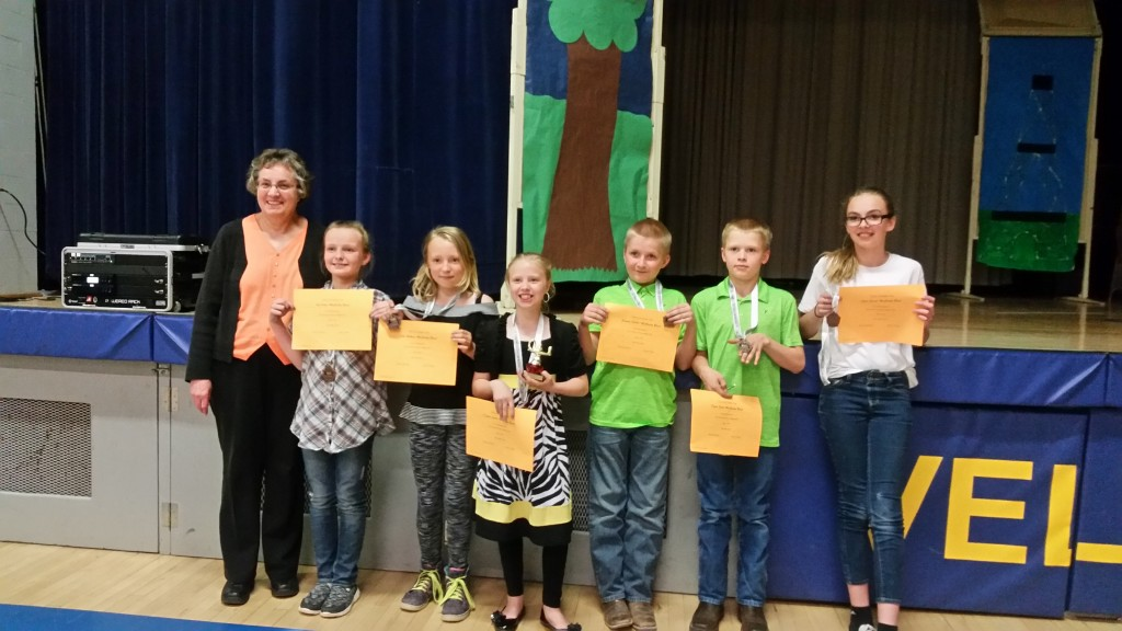 The 2016-17 Elementary Acalympic Team with their certificates and medals.